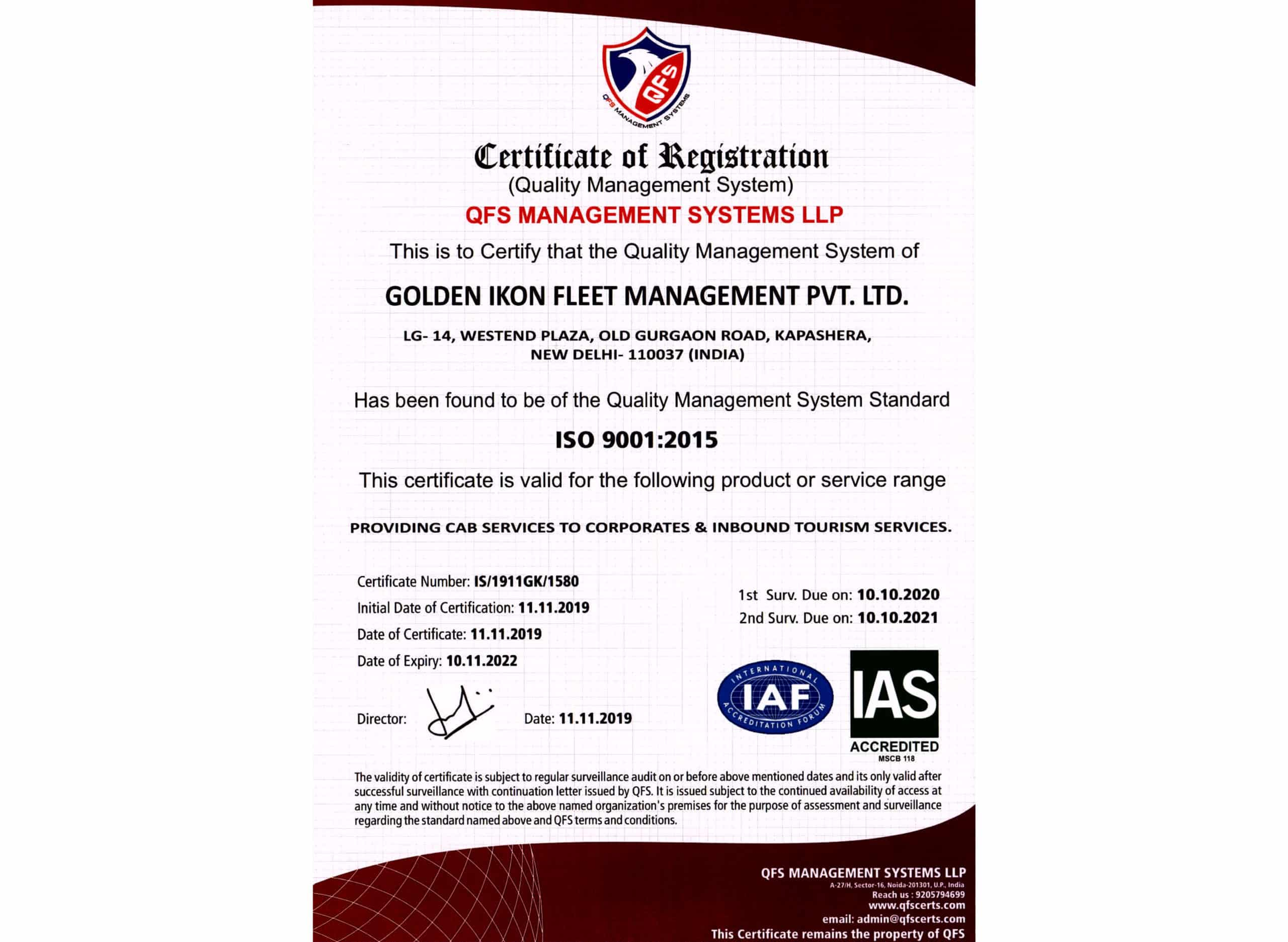 ISO Certificate (9001-2015)