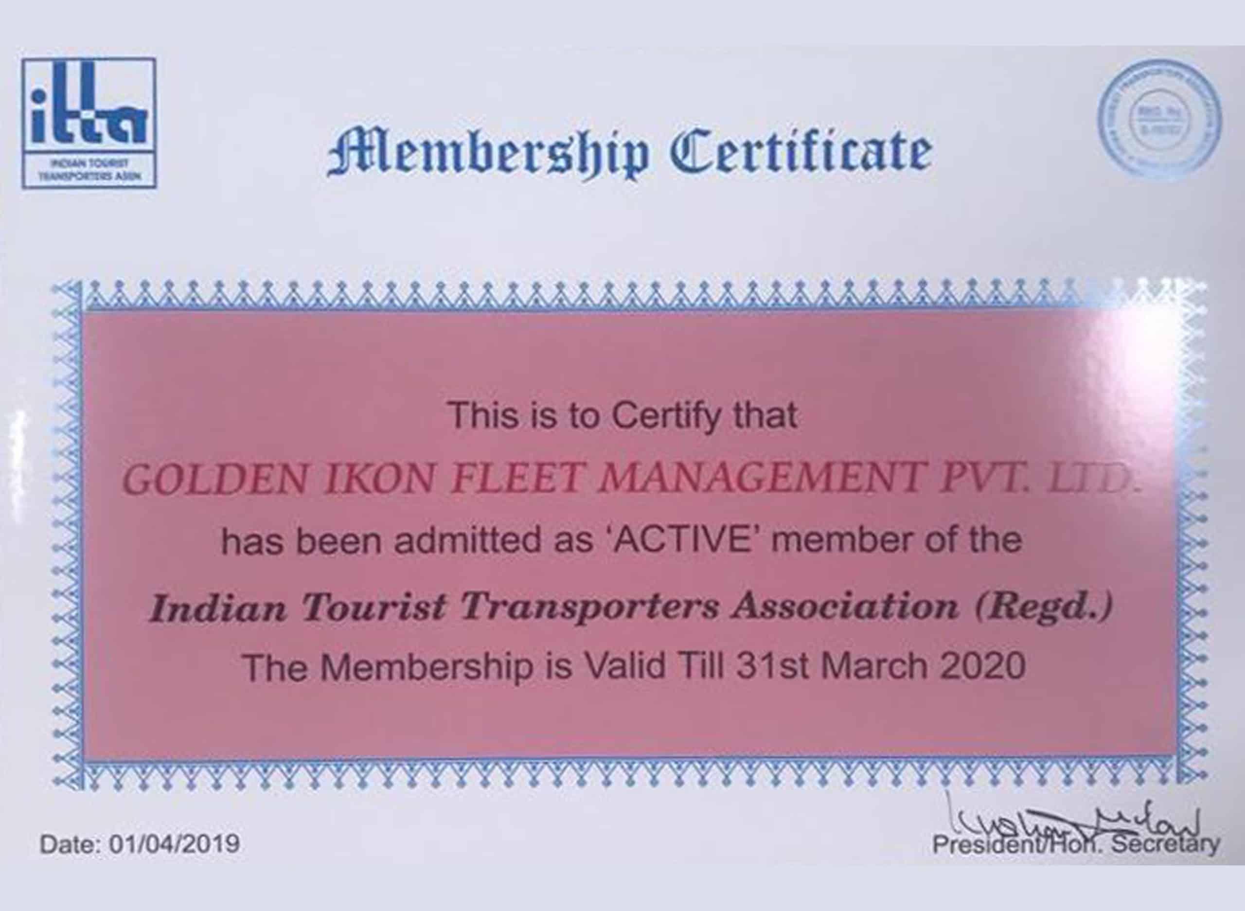 ITTA Certificate